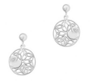 Celtic Knotwork Silver Round Earrings with Cubic Zirconia 9420
